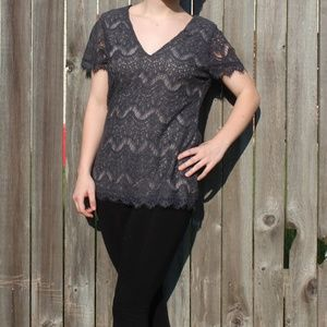 NWT Buckle Charcoal Gray Lace Top